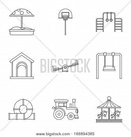 Children entertainment icons set. Outline illustration of 9 children entertainment vector icons for web