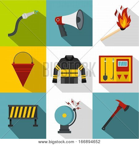 Firefighter icons set. Flat illustration of 9 firefighter vector icons for web