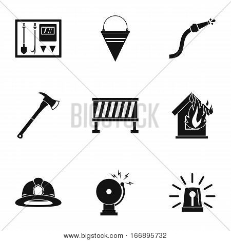 Firefighter icons set. Simple illustration of 9 firefighter vector icons for web