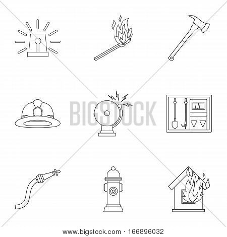 Fiery profession icons set. Outline illustration of 9 fiery profession vector icons for web