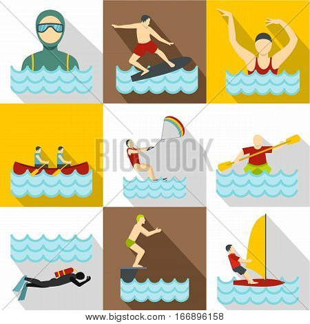 Water stay icons set. Flat illustration of 9 water stay vector icons for web