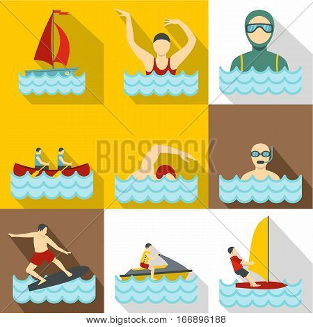 Water exercise icons set. Flat illustration of 9 water exercise vector icons for web