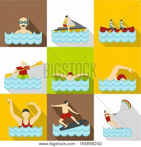 Active water sport icons set. Flat illustration of 9 active water sport vector icons for web