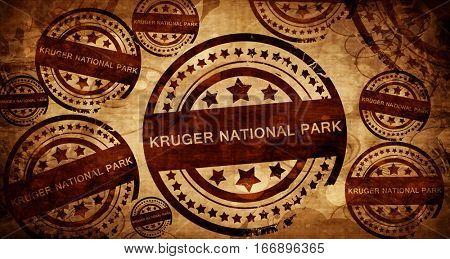 Kruger national park, vintage stamp on paper background