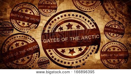 Gates of the arctic, vintage stamp on paper background