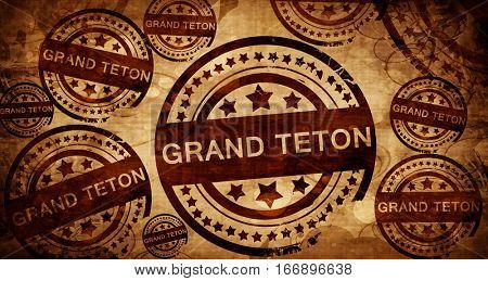 Grand teton, vintage stamp on paper background