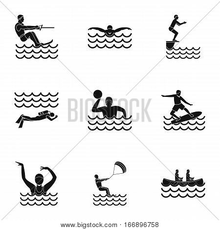 Active water sport icons set. Simple illustration of 9 active water sport vector icons for web