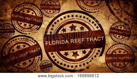 Florida reef tract, vintage stamp on paper background