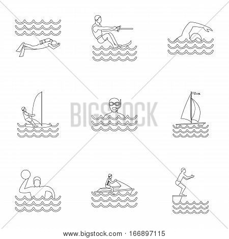 Swimming on water icons set. Outline illustration of 9 swimming on water vector icons for web