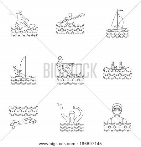 Active water sport icons set. Outline illustration of 9 active water sport vector icons for web