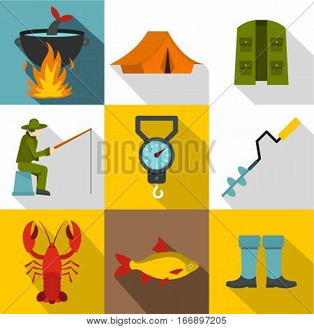 Hunting for fish icons set. Flat illustration of 9 hunting for fish vector icons for web