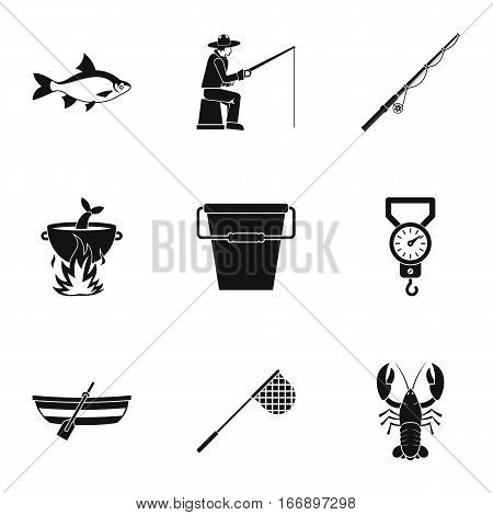 Hunting for fish icons set. Simple illustration of 9 hunting for fish vector icons for web