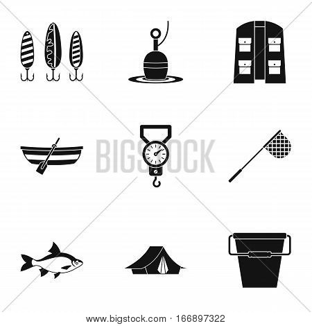 Catch fish icons set. Simple illustration of 9 catch fish vector icons for web