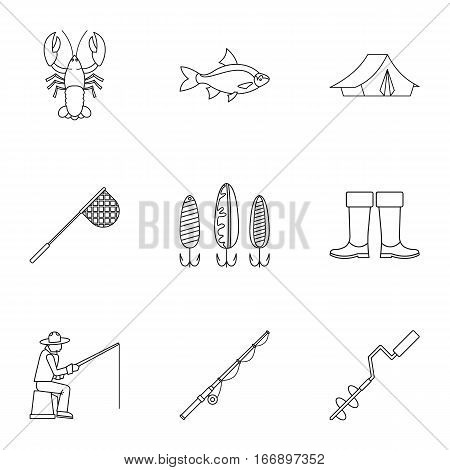 Fishing icons set. Outline illustration of 9 fishing vector icons for web