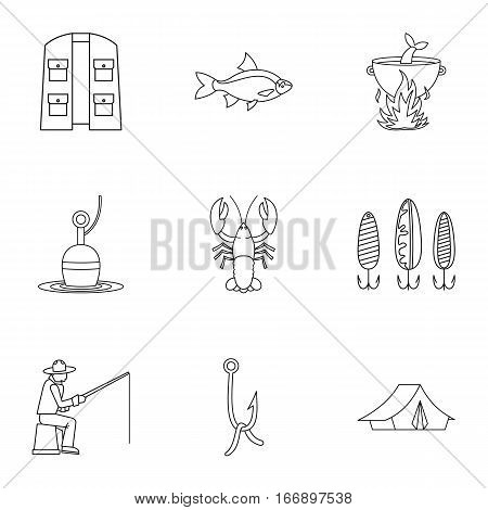 Fishing sport icons set. Outline illustration of 9 fishing sport vector icons for web