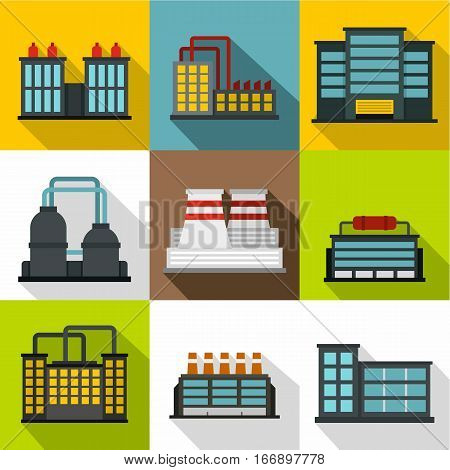 Production plant icons set. Flat illustration of 9 production plant vector icons for web