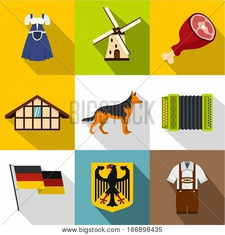Republic of Germany icons set. Flat illustration of 9 republic of Germany vector icons for web