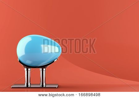 Blue easter egg on metal stand on green background. 3d rendering