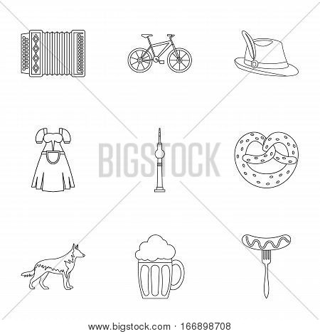 Germany icons set. Outline illustration of 9 Germany vector icons for web