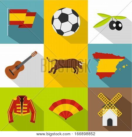 Spain icons set. Flat illustration of 9 Spain vector icons for web