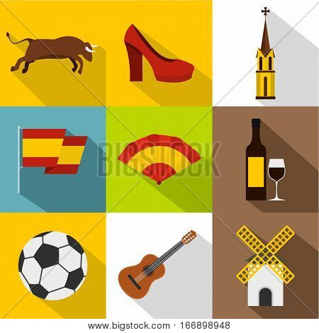 Tourism in Spain icons set. Flat illustration of 9 tourism in Spain vector icons for web