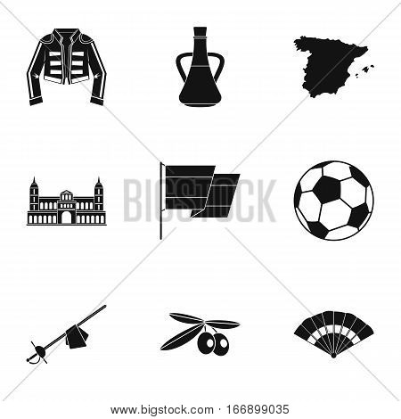 Country Spain icons set. Simple illustration of 9 country Spain vector icons for web