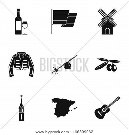 European Spain icons set. Simple illustration of 9 european Spain vector icons for web