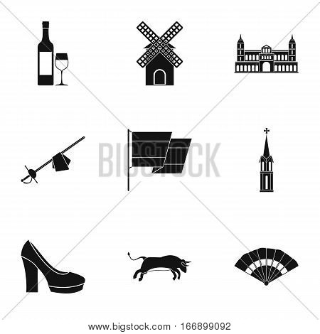 Holiday in Spain icons set. Simple illustration of 9 holiday in Spain vector icons for web