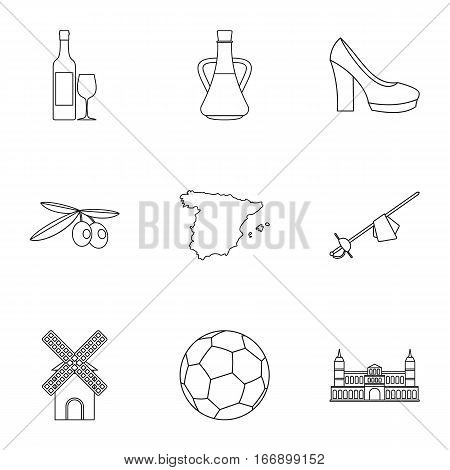 Country Spain icons set. Outline illustration of 9 country Spain vector icons for web