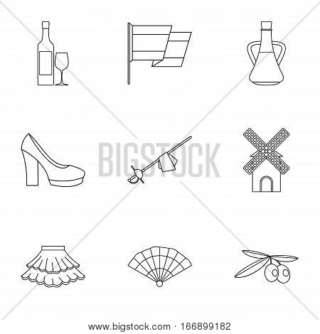 European Spain icons set. Outline illustration of 9 european Spain vector icons for web