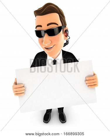 3d security agent holding a billboard illustration with isolated white background
