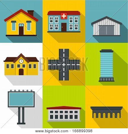 City public buildings icons set. Flat illustration of 9 city public buildings vector icons for web