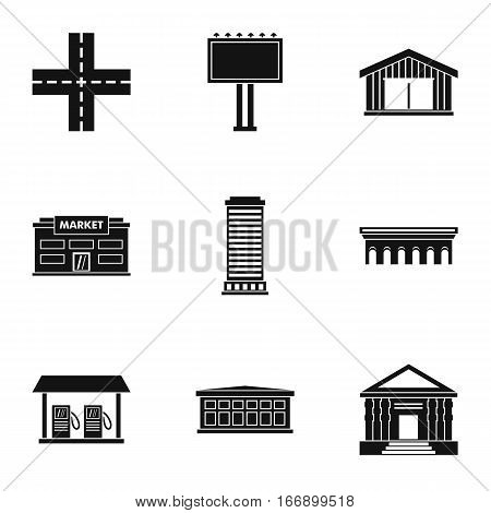 Public building icons set. Simple illustration of 9 public building vector icons for web