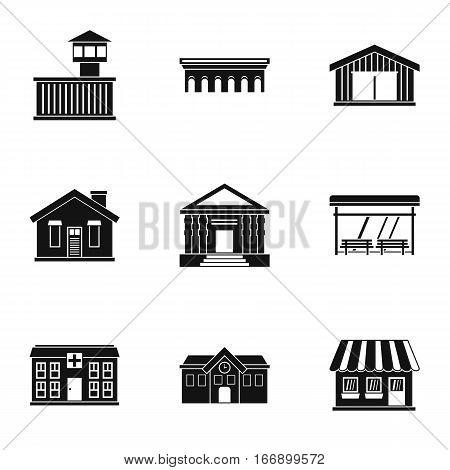 City public buildings icons set. Simple illustration of 9 city public buildings vector icons for web
