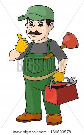 The mustachioed plumber with tools. A locksmith.