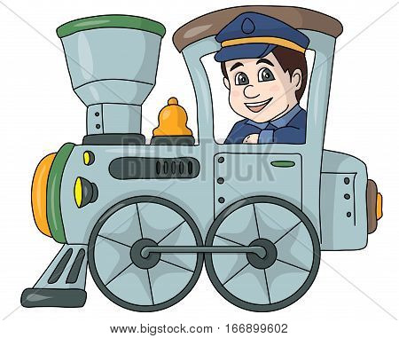 The machinist railwayman in a gray locomotive.