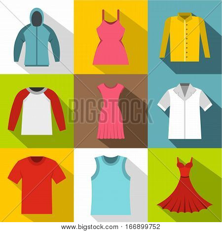 Clothing icons set. Flat illustration of 9 clothing vector icons for web