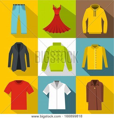 Clothing for body icons set. Flat illustration of 9 clothing for body vector icons for web
