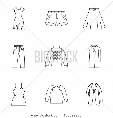 Types of clothes icons set. Outline illustration of 9 types of clothes vector icons for web