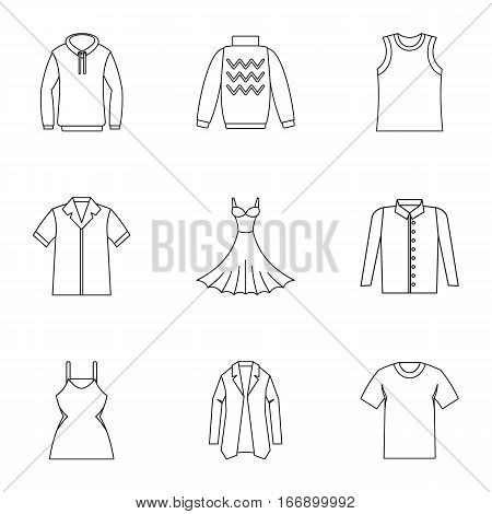 Clothing for body icons set. Outline illustration of 9 clothing for body vector icons for web