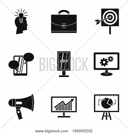 Advertising icons set. Simple illustration of 9 advertising vector icons for web