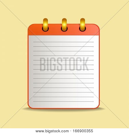 Red tear-off notepad on the rings with lines. Blank sheet on yellow background. School business diary. Template can be used for any design, on web sites. Vector icon in flat style. Square. Isolated.