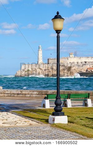 The fortress and lighthouse of El Morro, a symbol of the city of Havana in Cuba