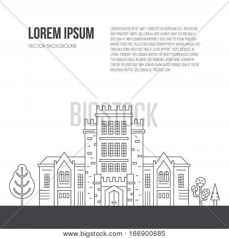 University building with trees around made in line style vector. Education symbol with place for your text, Announcement or flyer template isolated on white background.