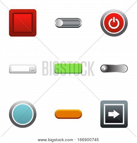 Click button icons set. Flat illustration of 9 click button vector icons for web