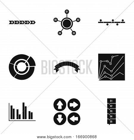 Analytics icons set. Simple illustration of 9 analytics vector icons for web