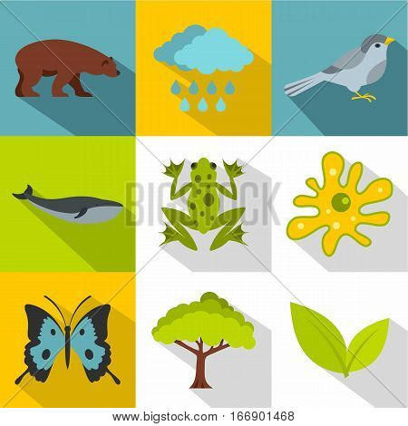 Nature icons set. Flat illustration of 9 nature vector icons for web