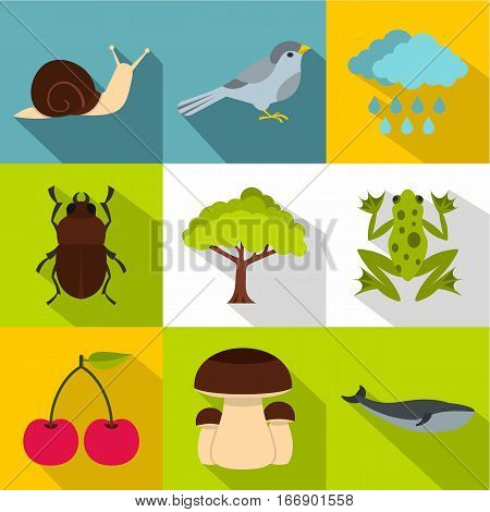 Flora icons set. Flat illustration of 9 flora vector icons for web