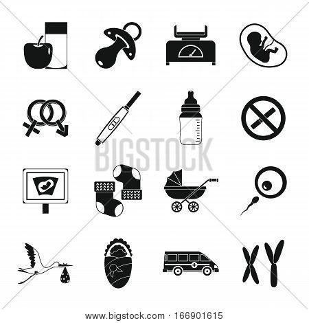 Pregnancy symbols icons set. Simple illustration of 16 pregnancy symbols vector icons for web