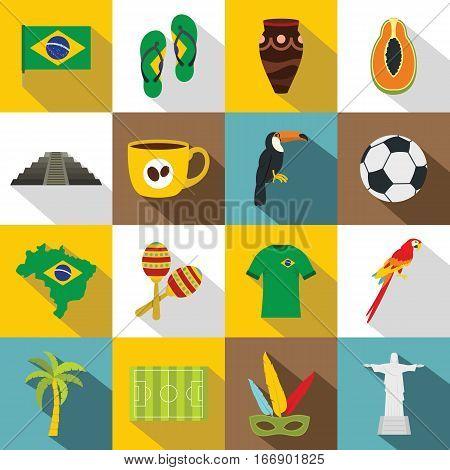 Brazil travel symbols icons set. Flat illustration of 16 Brazil travel symbols vector icons for web